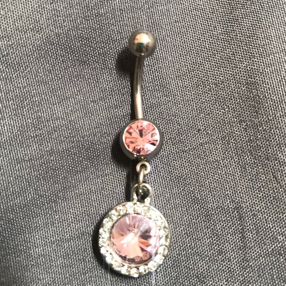 Diamond Pink Belly Button Ring